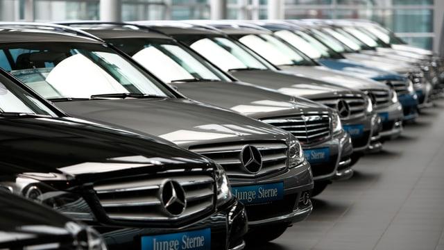 Neue Mercedes-Autos stehen nebeneinander.