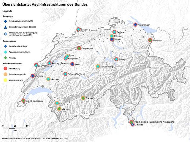 Karte der Schweiz mit den Asyl-Infrastrukturen.