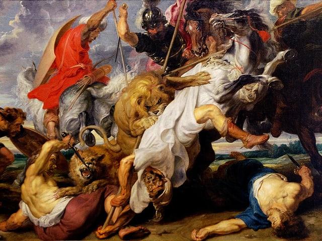 Bild von Löwen, die Reiter angreifen.