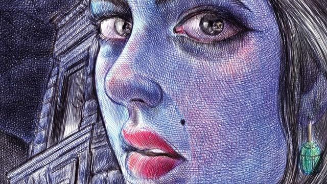 Das gezeichnete Gesicht einer Frau.