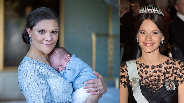 Kronprinzessin Victoria hält Oscar im Arm. Prinzessin Sofia lächelt in die Kamera.