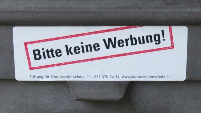 Briefkastenkleber mit Aufschrift «Bitte keine Werbung!»