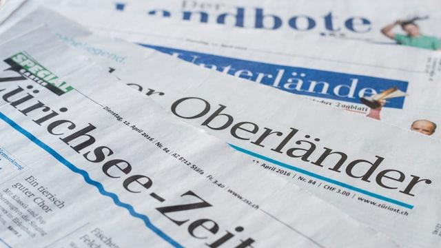 Die Front von vier verschiedenen Regionalzeitungen.