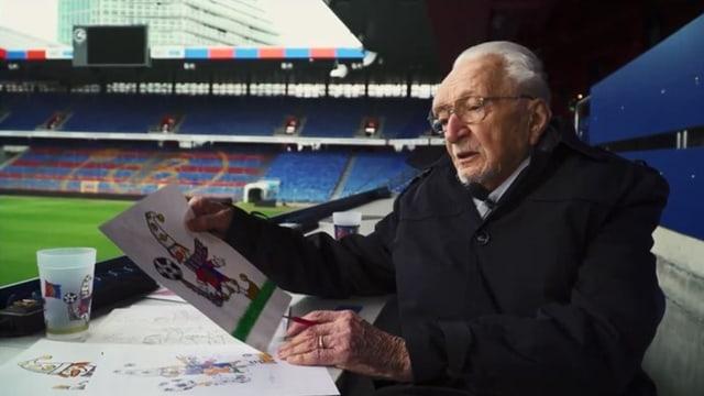 Ein alter Mann mit einer Zeichnung