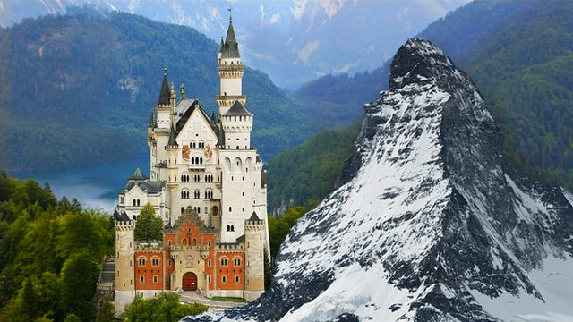 Das Schloss Neuschwanstein und das Matterhorn in einer Collage.