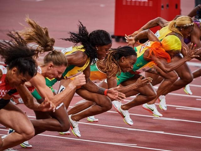 6 der 8 Teilnehmerinnen des Olympia-Finals über 100 m sind in Lausanne am Start.