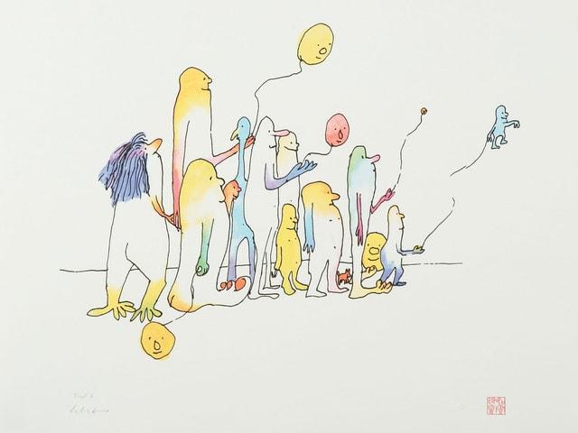 John Lennons Zeichnung «Come Together», publiziert in seinem Buch «In His Own Write», zeigt skizzenhaft eine farbenfrohe Gruppe von Menschen, die Ballone in Form lachender Köpfe oder Figuren steigen lassen.