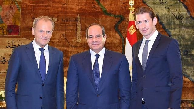 Tusk, al-Sisi und Kurz in Kairo.