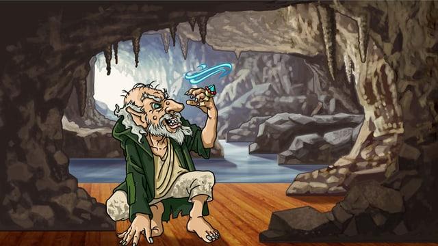 Zeichnung des Zwerges Alberich, der in einer Höhle gierig auf seinen funkelnden Ring schaut.