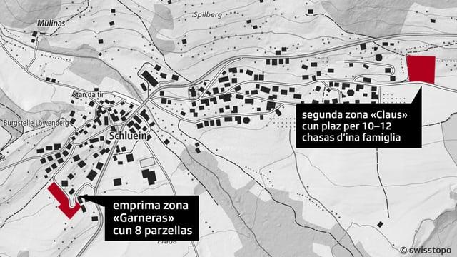 Charta geografica che mussa las zonas da bajegiar per indigens a Schluein.