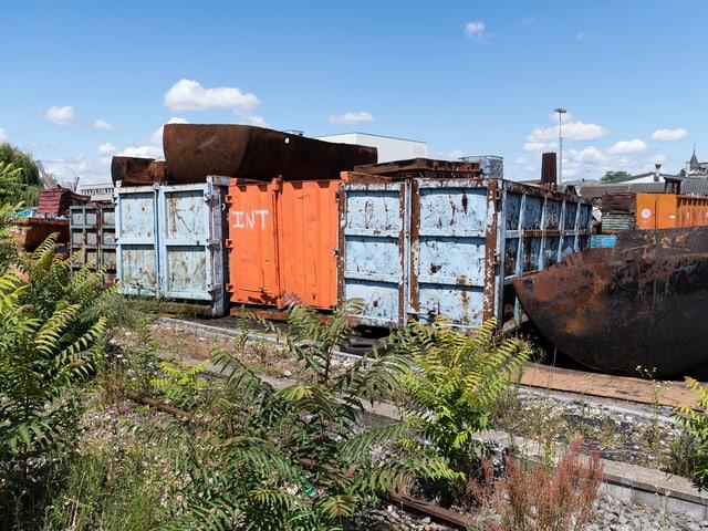 Rostige Container stehen neben von Unkraut überwachsenen Bahngeleisen.