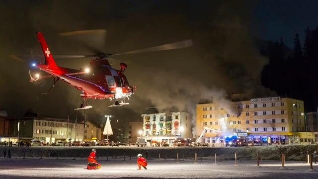 La saira dal grond incendi dal Posthotel Arosa