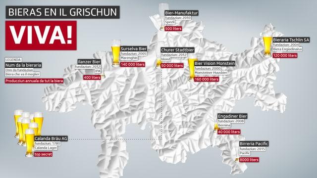 Ins vesa ina charta dal Grischun, nua ch'i è marcà las bierarias en il chantun.