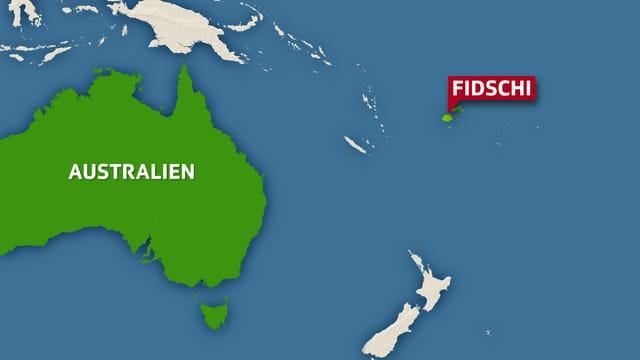 Karte zeigt die Fischi-Inseln östlich von Australien