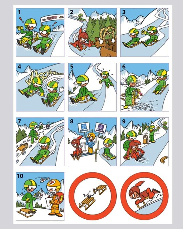 Comic mit Schlittelregeln