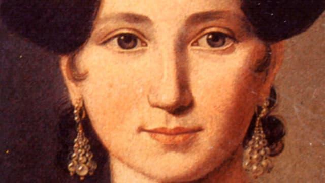 Gemaltes Porträt der Autorin Emma Herwegh.