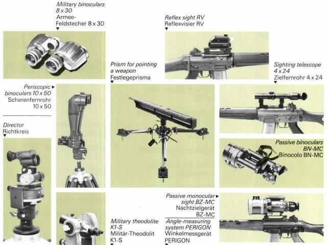 Ausschnitt aus Prosopekt mit optischen Geräten fürs Militär.