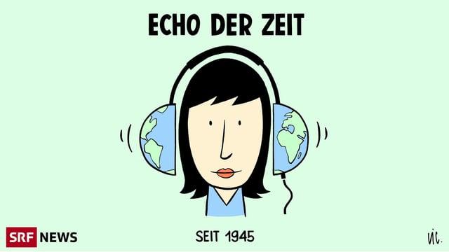 """Eine Dame mit Weltkugel-Kopfhörern + dem Schriftzug """"Echo der Zeit"""" seit 1945"""