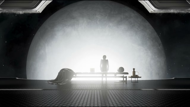 En sitzt alleine auf einer Bank in der Raumstation und betrachtet das Universum.