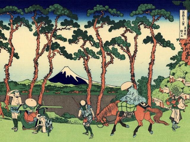 Stich von Hokusai: Vor dem Fujiyama stehen Soldaten.