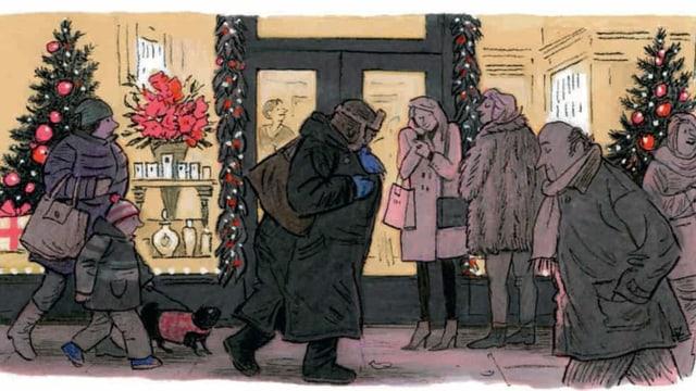 Frau von der Seite stapft über eine Shopping-Meile. Sie ist gerade auf der Höhe eines Schaufensters, das weihnächtlich dekoriert ist.