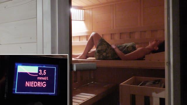 Frauin Sauna, davor Anzeige des Blutzuckermessgeräts