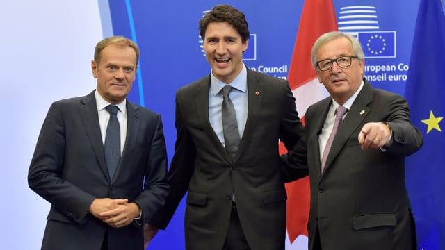 Donald Tusk, Justin Trudeau und Jean-Claude Juncker (v.l.n.r.)