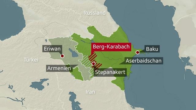 Karte der Region Berg-Karabach zwischen Armenien und Aserbaidschan.
