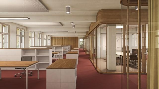 Blick in ein Büro mit Tischen, Stühlen, Lampen.
