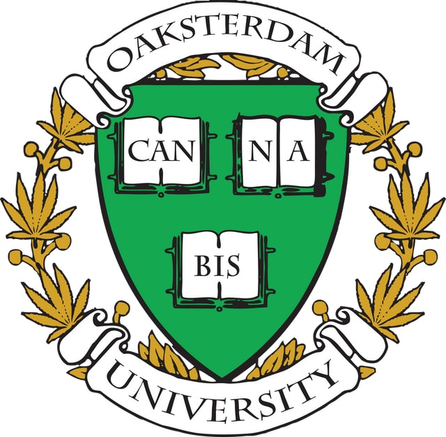Das Logo der Uni, bei der sich alles um Cannabis dreht.