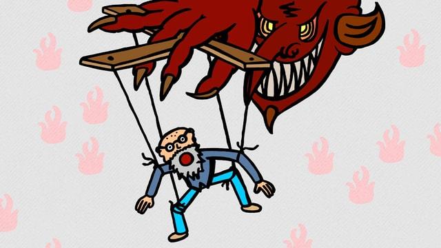 Mephisto als böser roter Teufel und Faust als seine Marionette.