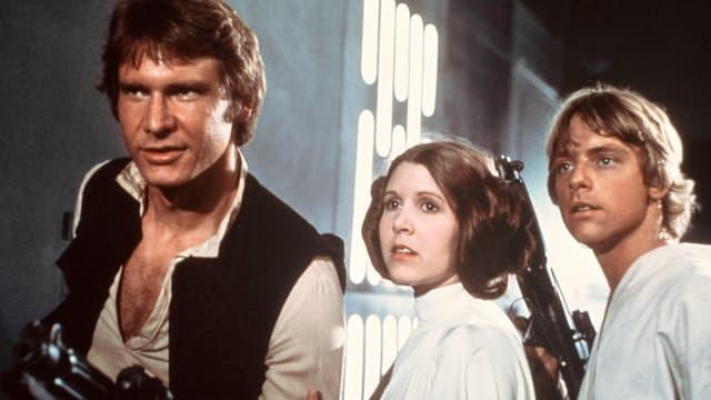 Eine Szene aus Star Wars mit Harrison Ford, Carrie Fisher und Mark Hamill