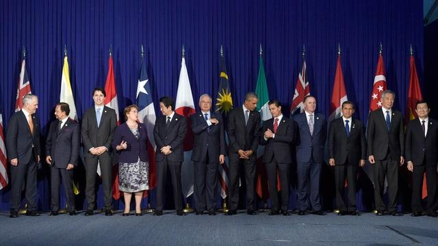 Die Staats- und Regierungschefs der TPP an einem Gipfel.