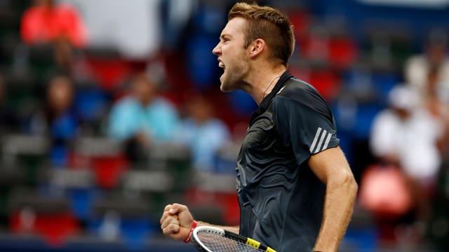 Jack Sock jubelt nach seinem Sieg in Indian Wells.