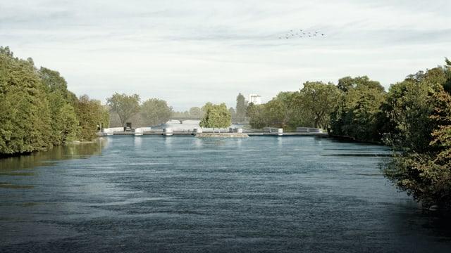 Das Kraftwerk ist vom oberen Flusslauf her gesehen nur noch als Brücke erkennbar.