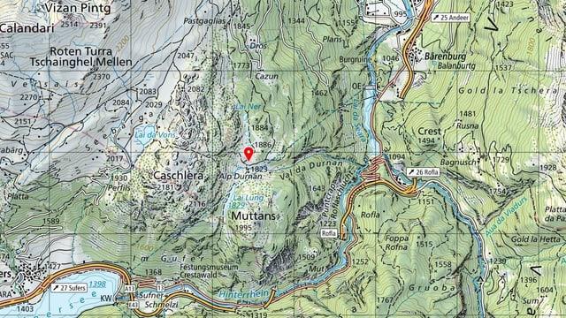 carta geografica, cuntrada da l'Alp Durnan ad Andeer