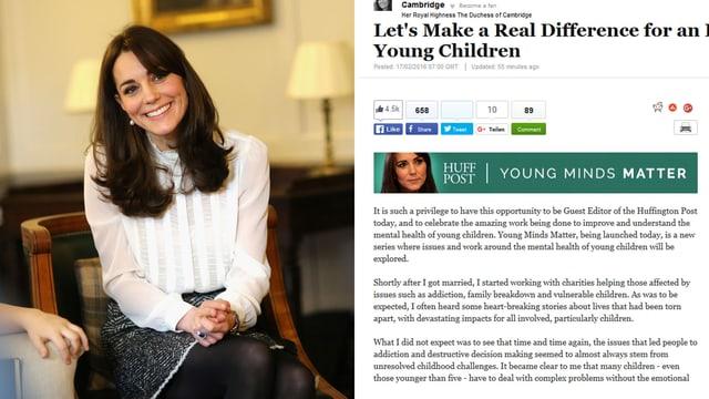 Porträt von Catherine und Ausschnitt von ihrem Artikel.
