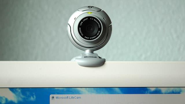 Eine Webcam auf einem Computer-Bildschirm.