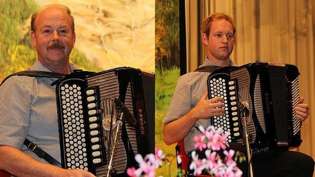 Martin Suter senior und Martin Suter junior, beide sitzend mit Akkordeon, auf einem zusammen gefügten Bild.