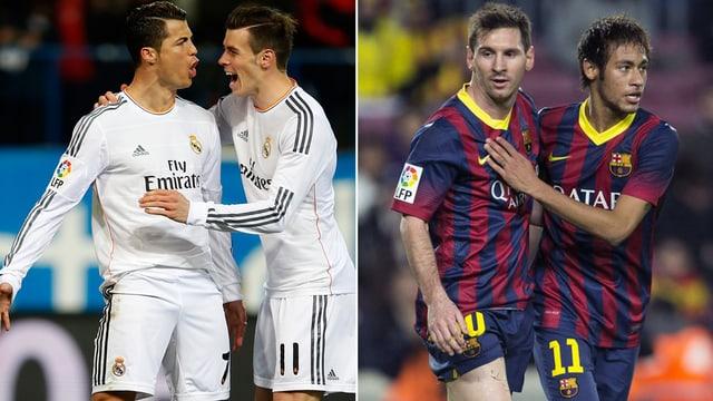 Cristiano Ronaldo und Gareth Bale gegen Lionel Messi und Neymar