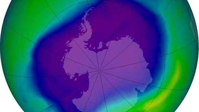 Im September 2006 erreichte das Ozonloch über der Antarktis die bisher grösste Ausdehnung (Nasa-Computergrafik).
