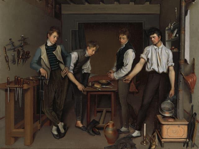 Ein Gemälde, das vier Jugendliche zeigt, wie sie in der Küche um einen Tisch herum stehen.