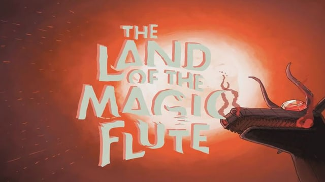 Ein Drache nebem dem Logo «The Land of the Magic Flute»