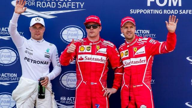 Ils emprims trais dal qualifying: Kimi Räikkönen, Sebastian Vettel e Valtteri Bottas.
