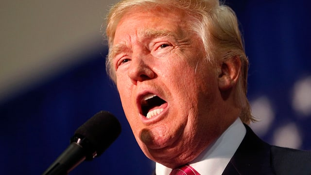 Donald Trump spricht in Mikrofon