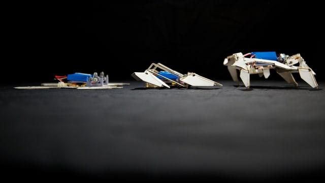 Die drei Phasen der Entfaltung des Origami-Roboters.