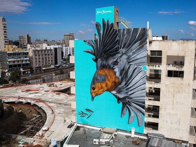 Die Künstler malten eine Vogel an eine Hauswand, der in die Tiefe fliegt.