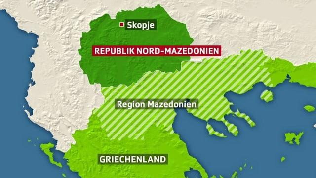 Kartenausschnitt mit Nord-Griechenland und Mazedonien.