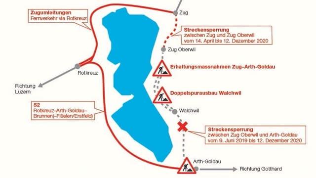 Eine Grafik mit einem blauen See in der Mitte. Rundum eingezeichnete Linien über geplante Massnahmen.