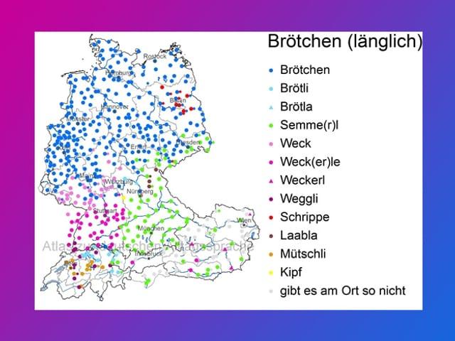 Eine Grafik mit verschiedenen farbigen Punkten auf einer Landkarte.